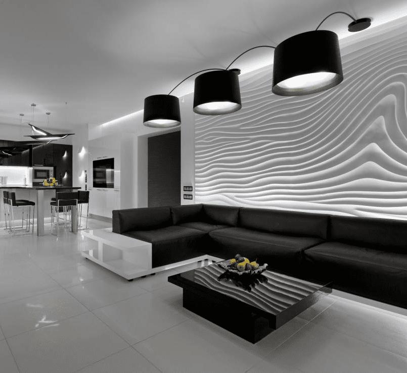 Черно-белый декор с использованием гипсовых панелей